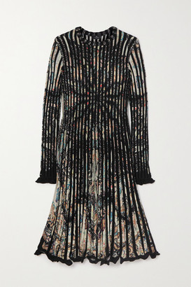 Etro Pleated Paisley-print Stretch-knit Dress - Black