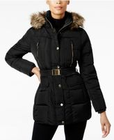 MICHAEL Michael Kors Faux-Fur-Trim Belted Down Puffer Coat