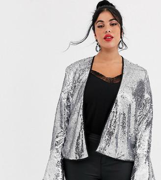 Unique21 Hero sequin frill kimono top-Silver