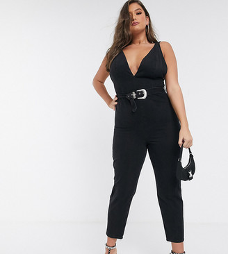 Asos DESIGN Curve denim plunge jumpsuit with western belt