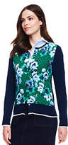 Lands' End Women's Tall Supima Cotton Cardigan Sweater-Pale Gray Heather Floral