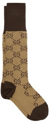 Gucci GG-intarsia Cotton-blend Socks - Brown Multi