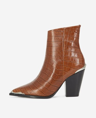 The Kooples Brown heeled ankle boots with silver detail