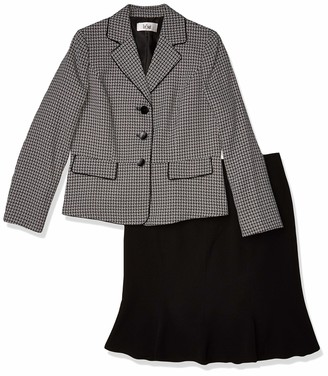 Le Suit LeSuit Women's 3 Button Notch Collar Plaid Tweed Trumpet Skirt Suit