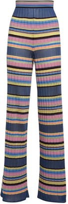 M Missoni Stripes Ribbed Knit Viscose Blend Pants