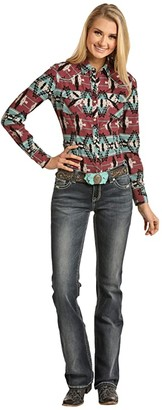 Rock and Roll Cowgirl Long Sleeve Snap B4S2323 (Teal) Women's Clothing