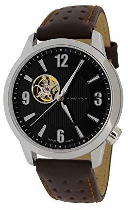 Momentum Men's ' Automatic Stainless Steel and Leather Casual Watch