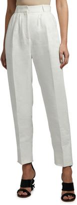 Alexander McQueen Linen High-Rise Peg Trousers
