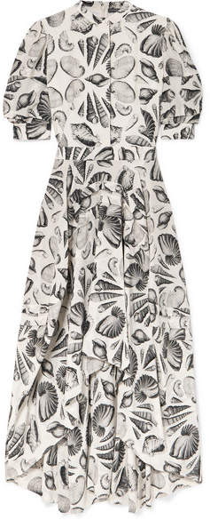 Alexander McQueen Printed Silk-crepe Midi Dress - White