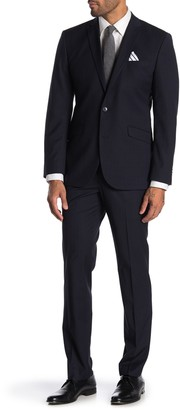 Kenneth Cole Reaction Techni-Cole Slim Fit Tonal Grid Print Trim Fit Suit