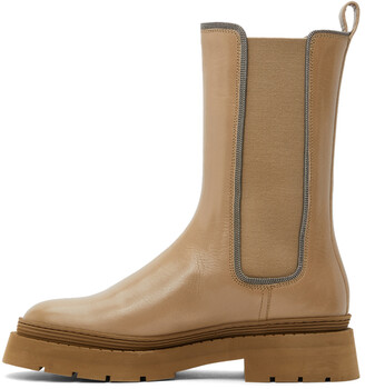 Brunello Cucinelli Tan Leather Embellished Chelsea Boots