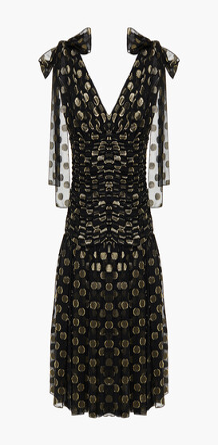 Dolce & Gabbana Ruched Polka-dot Metallic Fil Coupe Silk-blend Dress