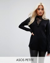 Asos Top With Choker Detail And Lace Panel
