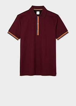 Men's Slim-Fit Burgundy Cotton-Pique Polo Shirt With 'Artist Stripe' Details