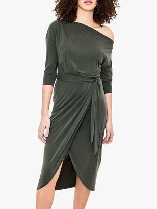 Oasis Asymmetric Neck Cupro Wrap Belted Dress, Khaki