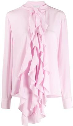 Victoria Beckham Frill Scarf Silk Blouse
