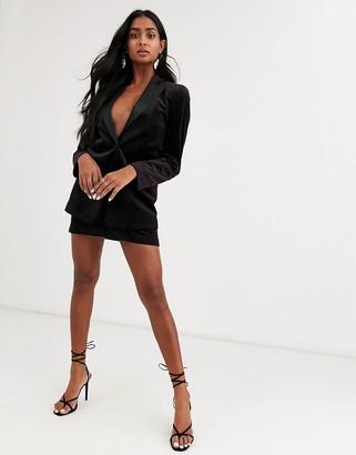 Asos Design DESIGN velvet tux mini suit skirt in wine-Red