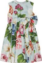 Dolce & Gabbana Girl's Floral Print Shirred Waist Dress, Size 8-12