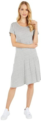 Dylan by True Grit Soft Melange Heather Slant-Hem Dress (Light Heather Grey) Women's Clothing