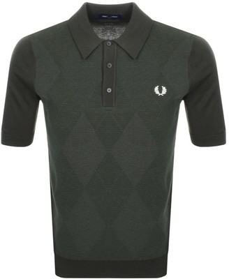 Fred Perry Tonal Argyle Knitted Polo T Shirt Green