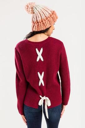 Harper Rose Julie Knit Lace Up Pullover - Burgundy