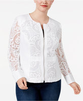 INC International Concepts Plus Size Mixed-Media Jacket, Created for Macy's