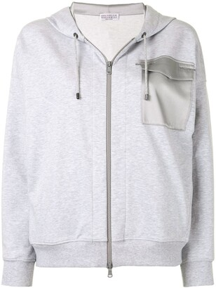 Brunello Cucinelli Contrast-Pocket Zipped Hoodie