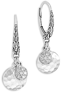 John Hardy Sterling Silver Dot Diamond Cluster & Hammered Disc Drop Earrings