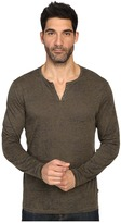 John Varvatos Long Sleeve Eyelet Knit Henley w/ Vertical Pickstitch Details K2077S3B