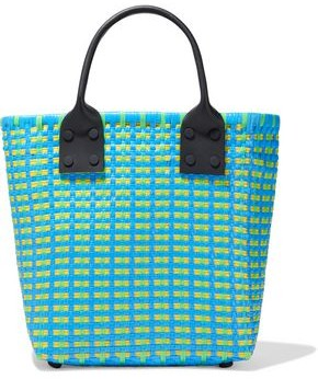 Truss Leather-trimmed Woven Raffia-effect Tote
