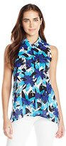 Notations Women's Sleeveless Flora Printed Hi Low Blouse