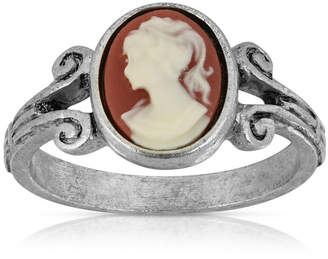 Pewter Carnelian Cameo Oval Ring