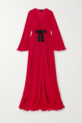 Giambattista Valli Bow-detailed Ruched Silk-georgette Maxi Dress - Red