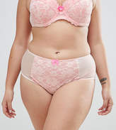 Yours Two Tone Apricot Lace Brief