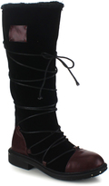 Black & Burgundy Ultra Lace-Up Boot - Women