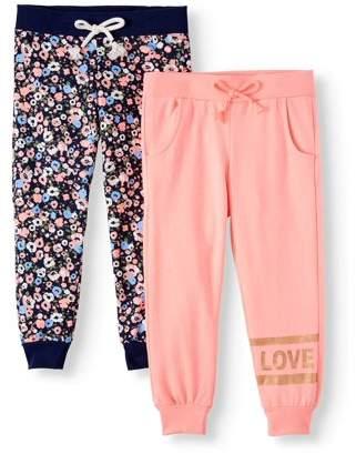 Love Republic Love Foil and Floral Fleece Jogger, 2-Pack (Little Girls & Big Girls)