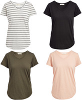 Urban Diction Women's Tee Shirts Stripe,Pink,Olive - Pink & Olive Stripe V-Neck Tee Set - Women & Plus
