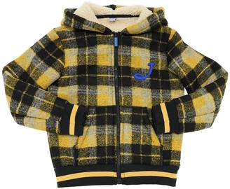 Jacob Cohen FAUX SHEARLING TARTAN BOMBER JACKET