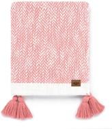 UGG Leigh Tassel Trim Herringbone Throw - Coral/Snow