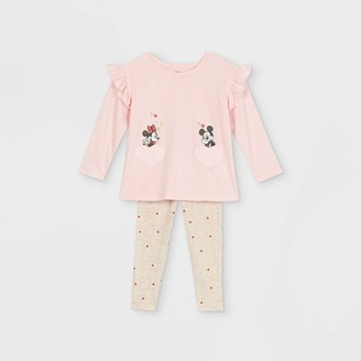 Disney Toddler Girls' Minnie and Mickey Mouse Valentine's Day Long Sleeve Top and Bottom Set -
