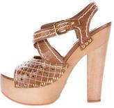 Prada Perforated Platforms Sandals