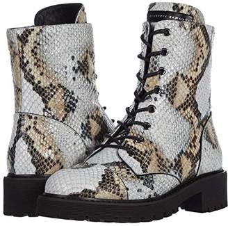 Giuseppe Zanotti Combat Printed Snake Boot (Ice) Women's Shoes