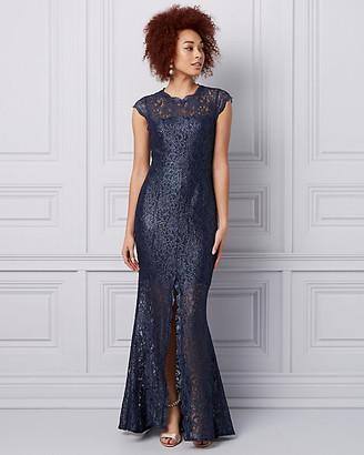 Le Château Foiled Lace Illusion Gown