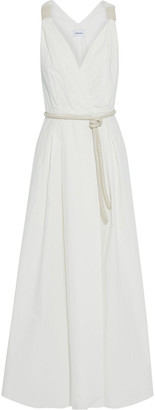 Nanushka Lilith Faux Leather-trimmed Pleated Cotton-poplin Maxi Wrap Dress