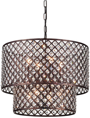 Edvivi Lighting Marya 8-Light Antique Copper Round Double Beaded Drum Glam Crystal Cha