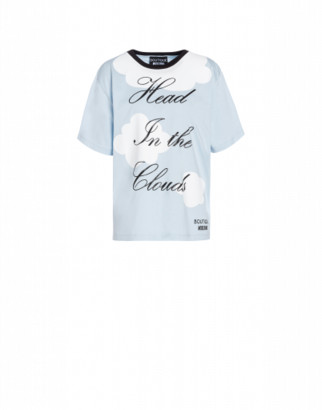 Boutique Moschino Head In The Clouds Jersey T-shirt Woman Blue Size 36 It - (2 Us)