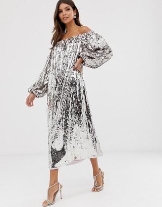 Asos EDITION off shoulder sequin midi dress