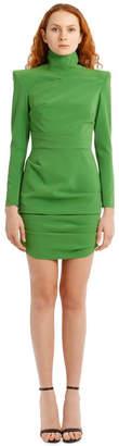 Alex Perry Pierce-Long Sleeve Stretch Crepe Mini Dress