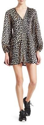 Ganni Paradise Blakely Leopard Silk A-Line Mini Dress