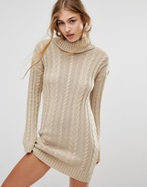 Missguided Roll Neck Cable Mini Dress